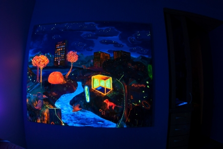 O mundo, (in Process) (Do ponto de vista da Terra quem gira é o sol)170 x 130 cm, oil, canvas, blacklight