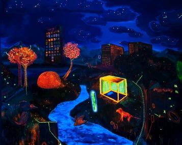 O mundo, (in Process) (Do ponto de vista da Terra quem gira é o sol)170 x 130 cm, oil, canvas, blacklight