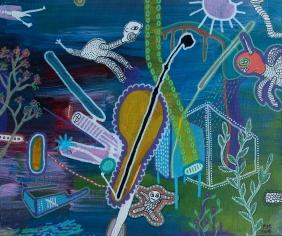 2015, acrylic and paint on canvas, 22x27 cm, The Unicorn on Acid