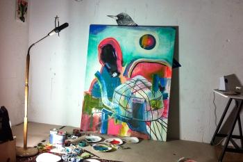 2015, Oil, Acryl, Phosphorcolor, Canvas, 120 x 150 cm (Ultra Violet Series), (Am Tag regents und in der Nacht scheint die Sonne)