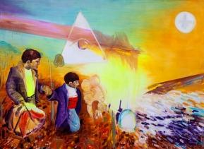 I Go., 2015, Öl, Phosphorfarbe auf Leinen, 210 x 150 cm, (Ultra Violet Series), Day