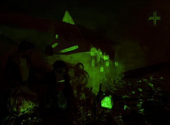 I Go., 2015, Öl, Phosphorfarbe auf Leinen, 210 x 150 cm, (Ultra Violet Series), Night