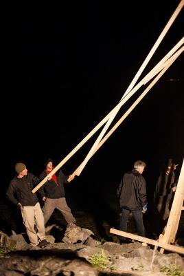 Brückenbau, Co-Work with Bildstein|Glatz «Soweit das Budget reicht» (material costs)Fichtenholz und Schrauben, 2009, Arbon, Thurgau, Switzerland