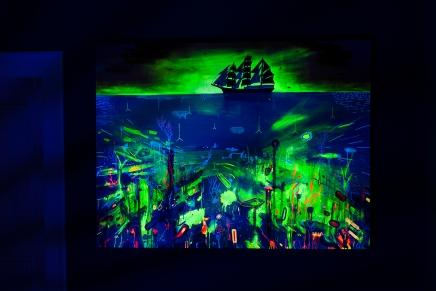 Pirate, 2016, Öl, Fluor- und Phosphorfarbe auf Leinen, Acryl, Leine, 118x149, (Ultra Violet Serie, Phosphor Power Painting)
